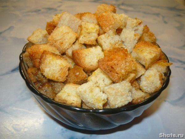 Сухарики острые----- хлеб- растительное масло- паприка  1 ч.л- перец красный острый  - перец черный  - куриные кубики  2 шт- чеснок-