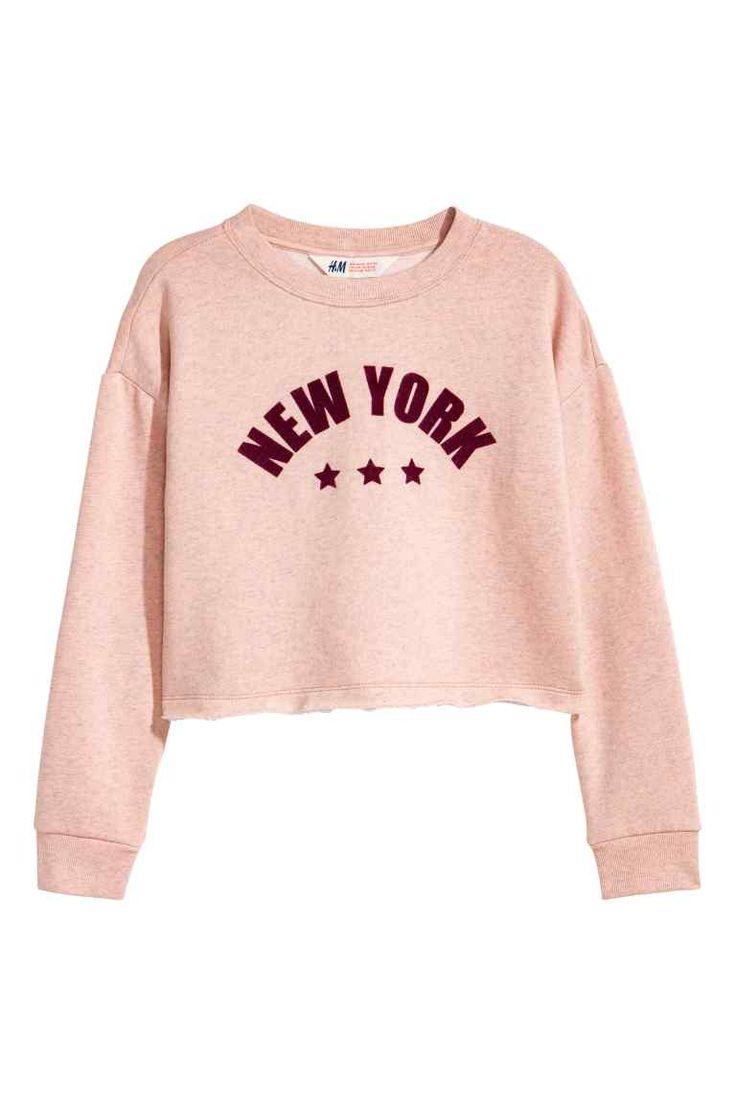 Sudadera corta - Rosa empolvado/New York - NIÑOS | H&M ES
