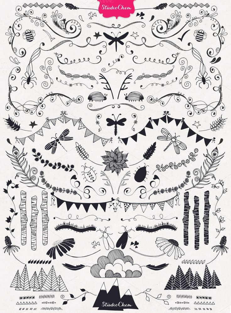 HUGE Hand drawn Nature Pack Elements