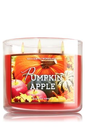 """Pumpkin Apple - 3-Wick Candle - Bath & Body Works - The Perfect 3-Wick Candle! Made using the highest concentration of fragrance oils, an exclusive blend of vegetable wax and wicks that won't burn out, our candles melt consistently & evenly, radiating enough fragrance to fill an entire room. Burns approximately 25 - 45 hours and measures 4"""" wide x 3 1/2"""" tall."""