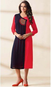 Navy Blue Color Georgette Embroidered Readymade Kurtis | FH587886507
