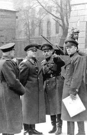 World War II. Marshal Georgy Zhukov (1896 – 1974; second from the left) with some Soviet officers in Berlin, Germany on April 3, 1945. Photograph by Victor Tyomin.