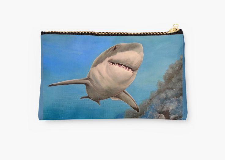Studio Pouch,  cool,beautiful,fancy,unique,trendy,artistic,awesome,fahionable,unusual,accessories,for sale,design,items,products,gifts,presents,ideas,carry all pouch,aqua,blue,turquoise,shark,redbubble