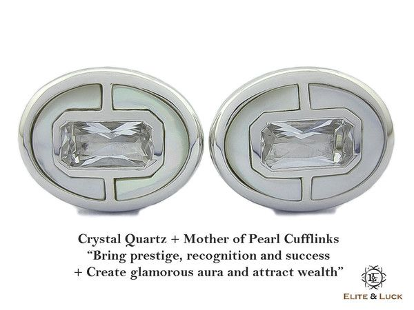"""Crystal Quartz + Mother of Pearl Sterling Silver Cufflinks, Rhodium plated, Prestige Model """"Bring prestige, recognition and success + Create glamorous aura and attract wealth"""" *** Combine 2 Gemstone Powers to double your LUCK ***"""