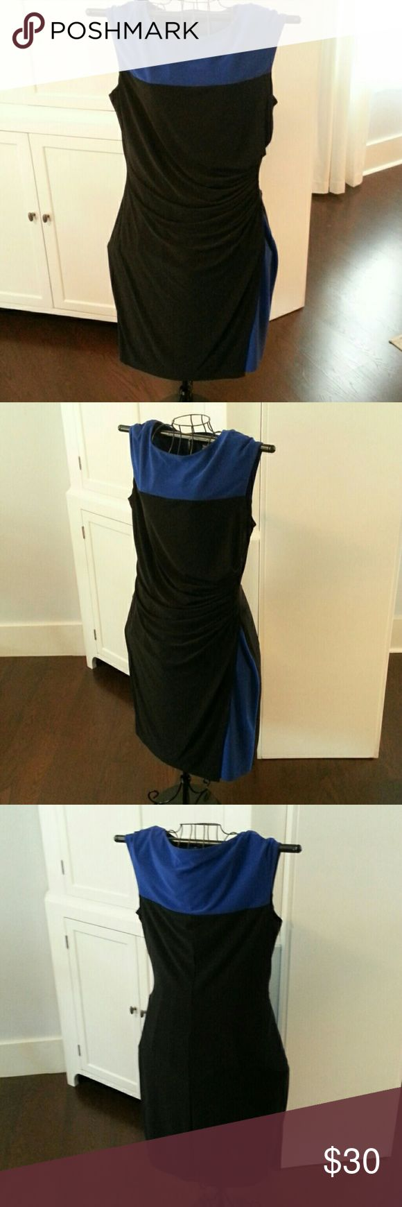 "CHAPS figure flattering DRESS Royal blue & Black. Rouching on waist side for a figure flattering look. Peek-a-boo Blue burst of color down side. Fully lined, weighted fabric ( the Chaps way) is perfect for a pulled together great look. Pit to pit 20.5"" Shoulder to hem 40.5"" GREAT CONDITION! Chaps Dresses"