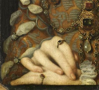 Detail of portrait of Elisabeth d'Autriche (1554-1592), reine de France, showing jewellery