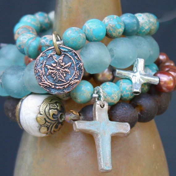 turquoise blues and shades of brown...boho bracelet with cross, beads from Nepal, sea glass and pearls