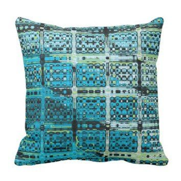 Blue throw pillows are fun, cute and trendy, especially abstract blue accent pillows as they are funky, unique and charming.  Use these type of accent pillows alongside solid colored throw pillows to create texture, depth and color.   Blue throw pillows make a great choice as blue is the color of confidence,  relaxation and power.   Industrial Quilt Pillow