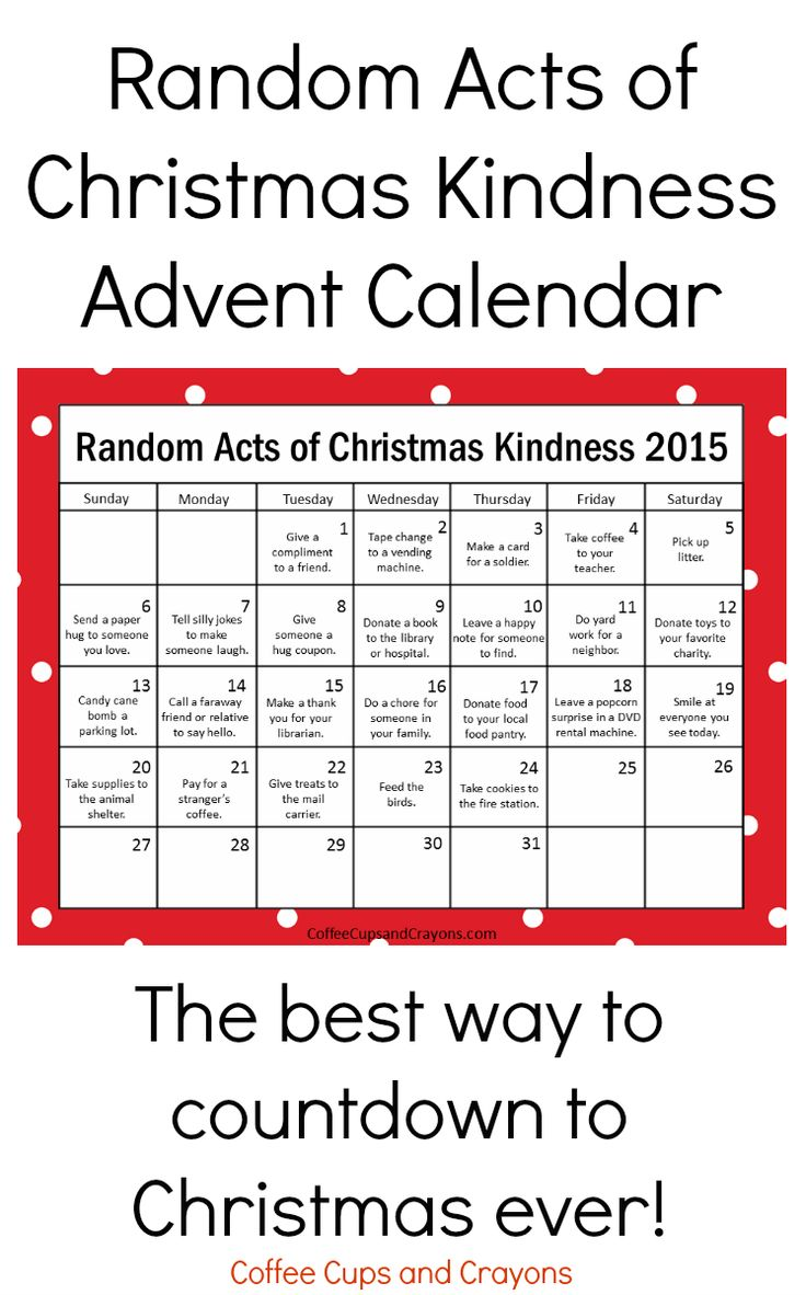 Updated for 2015! The popular free printable Random Acts of Christmas Kindness Advent Calendar is the BEST way to countdown to Christmas! We are definitely doing this one!