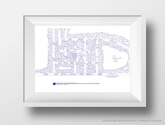 Stars Hollow Map Poster Fictional Blueprint Map by TVfloorplans