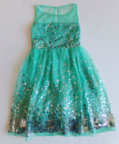 new RUBY ROX size 8 girls AQUA SEQUIN PARTY DRESS - PAGEANT