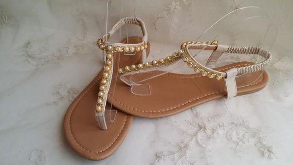 Mariage Ivoire chaussures de mariage en or de sandales avec perles Destination mariage sandales plage mariage sandales Chaussures Vegan sandales de mariage