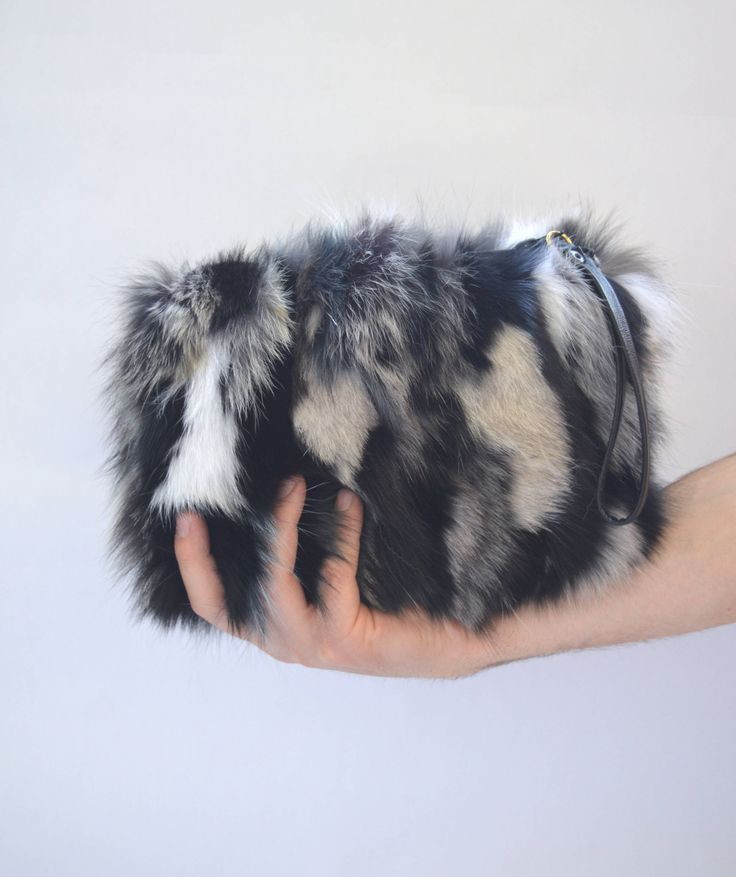 Real fox fur bag, real fur clutch bag, genuine leather handbag , wristlet real fur purse, zipped genuine fox fur pouch, evening fur bag. by BeFur on Etsy