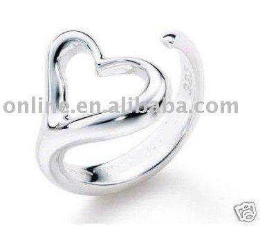 Продвижение по службе, высочайшее качество Посеребренные и Штампованные 925 открытое сердце кольца для женщин изящных ювелирных изделий оптовая поощрение ювелирные изделия