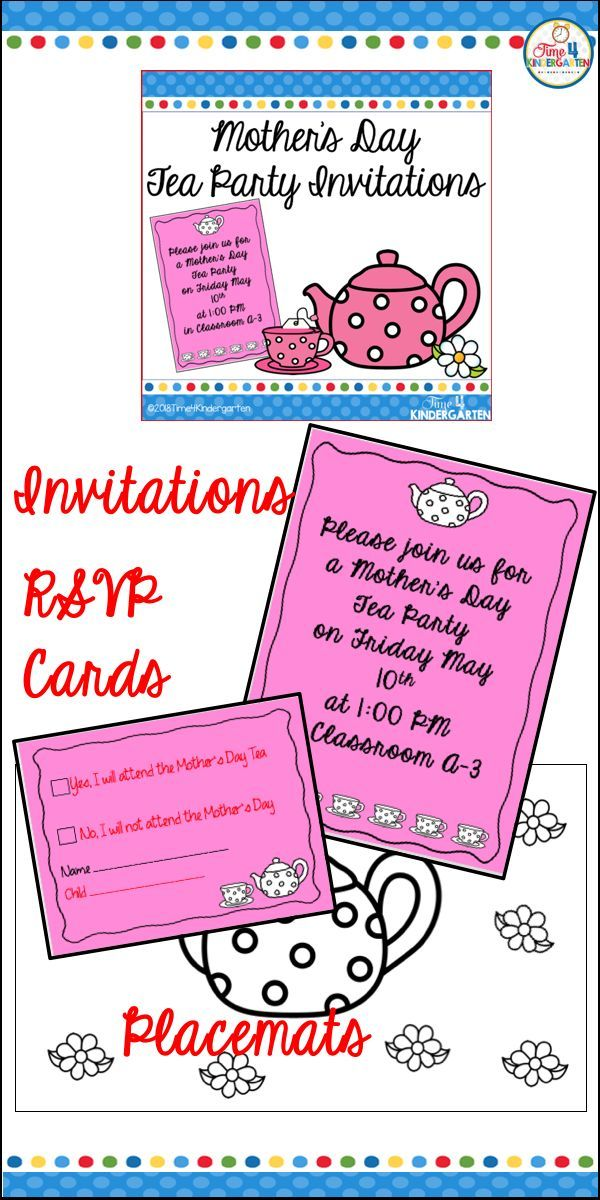 Mother S Day Tea Party Invitations Kinderland Collaborative