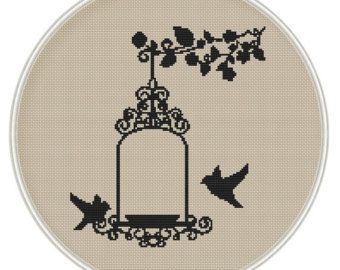 Flower and Bird cross stitch pattern Instant by MagicCrossStitch