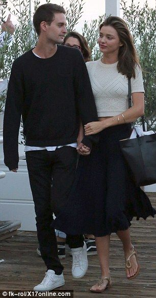 Miranda Kerr shares a loving look with Snapchat founder boyfriend Evan Spiegel | Daily Mail Online