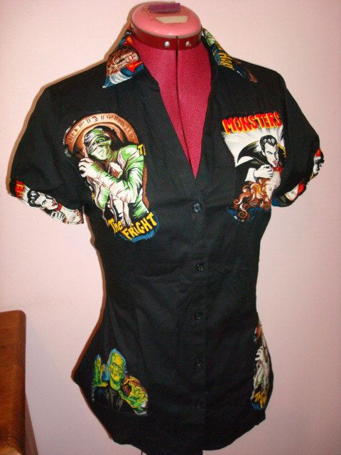 Work shirt Frankenstein rockabilly psychobilly by FifisAlternative