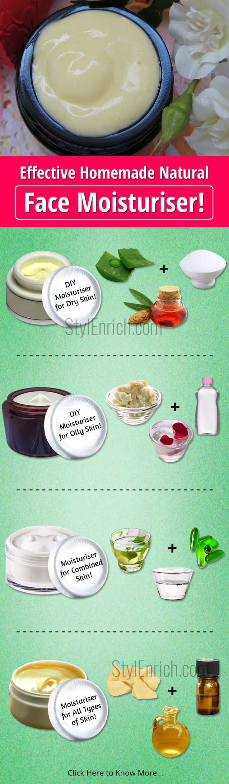 Do you know why do we need #Homemade #FaceMoisturiser, what is special in it for your skin? Moisturisers are the important part of your #SkinCare routine. So you can enjoy homemade facial moisturiser #Recipes which are simple, affordable and downright cheap and you will find almost all the ingredients in your kitchen.