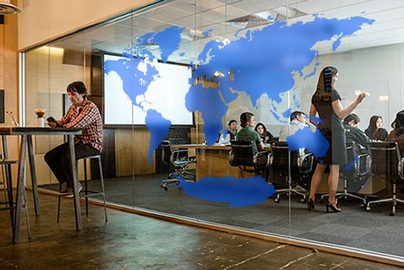 Global places data map for glass wall  Translucent world map decal office wall decal by MapDecal on Etsy, $248.00