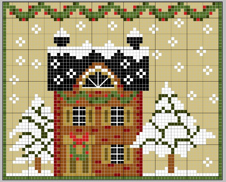 Snow Cottage cross stitch pattern