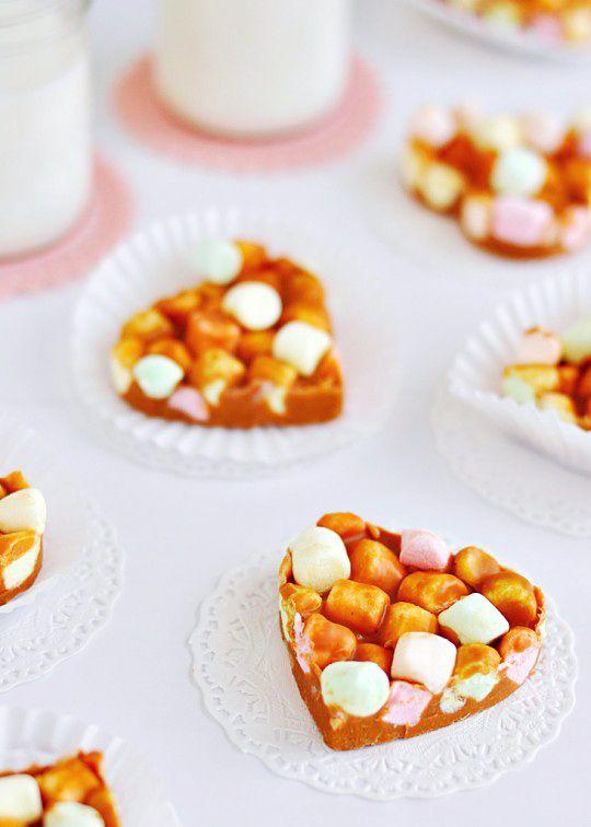 Peanut Butter Butterscotch Marshmallow Hearts via Sweetapolita