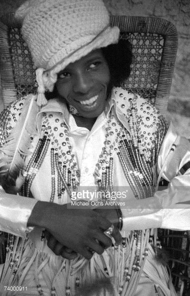 Singer Sly Stone (Sylvester Stewart) of the psychedelic soul group 'Sly and the Family Stone' poses for a portrait on the Warner Brothers lot in circa 1970 in Los Angeles, California.