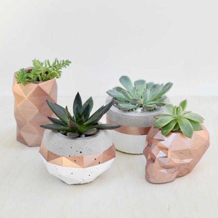 Cement Geometic Gem Planter for Succulents Cactus Arrangements