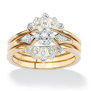 Palm Beach Jewelry Br Full And Round Diamond Crown Wedding Ring Set