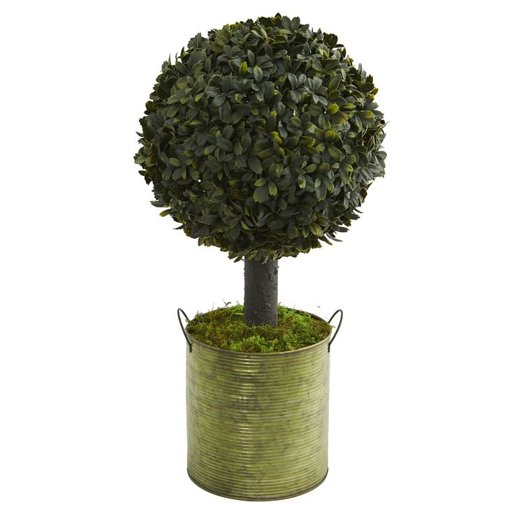 Nearly 1.5' Boxwood Ball Topiary Artificial Tree in Tin