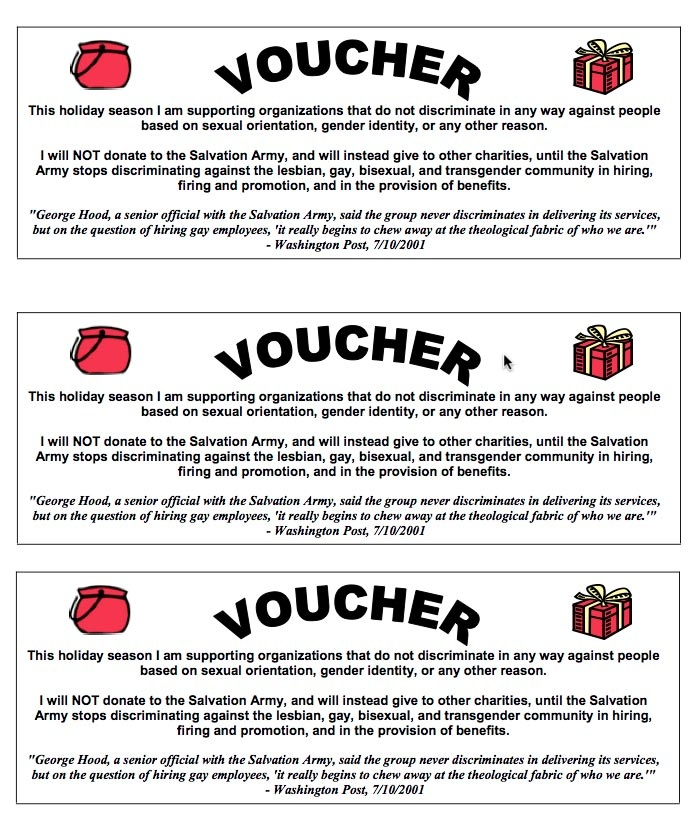My vow this year. One of these will go in every red bucket and I will then donate to a non discriminatory group.