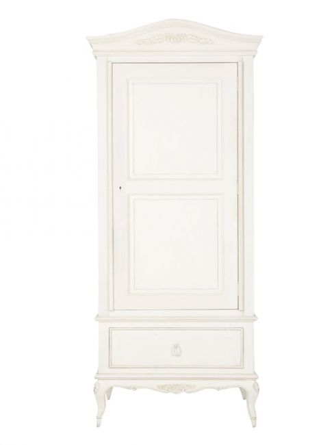 Shabby Chic Primrose Single White Wardrobe