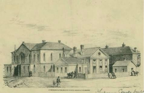 The old Supreme Court building, on the north-west corner of Latrobe and Russell Streets, Melbourne. Constructed in 1842, it housed the Supreme Court of New South Wales for the District of Port Phillip until 1852. #twistedhistory #melbournemurdertours #murder #crime #convict