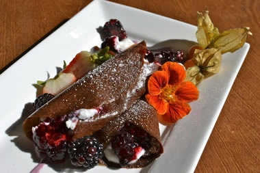Chocolate Berry Crepe from LIVE Organic Food Bar. #vegetarian #raw #vegan    Order Delivery: http://www.orderit.ca/Menu/Live-Organic-Food-Bar/513?rl=1