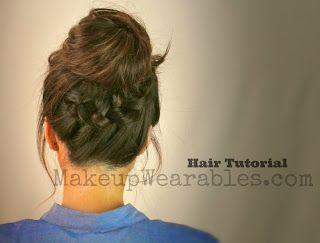 Hair+Tutorial+ +Braided+Messy+Bun Learn 3 Cute, Everyday Casual Hairstyles Updos   Hair Tutorial Videos