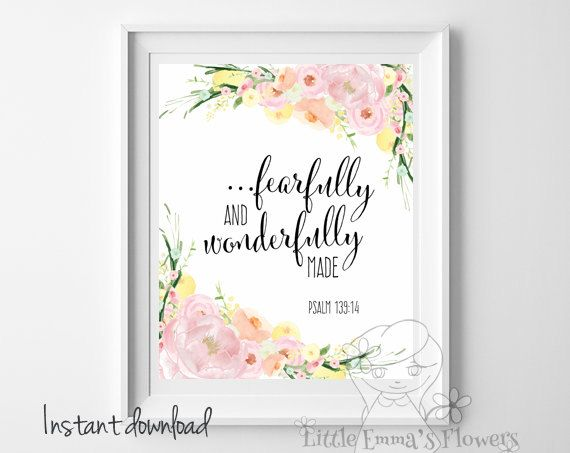Bible verse art Fearfully and wonderfully by LittleEmmasFlowers