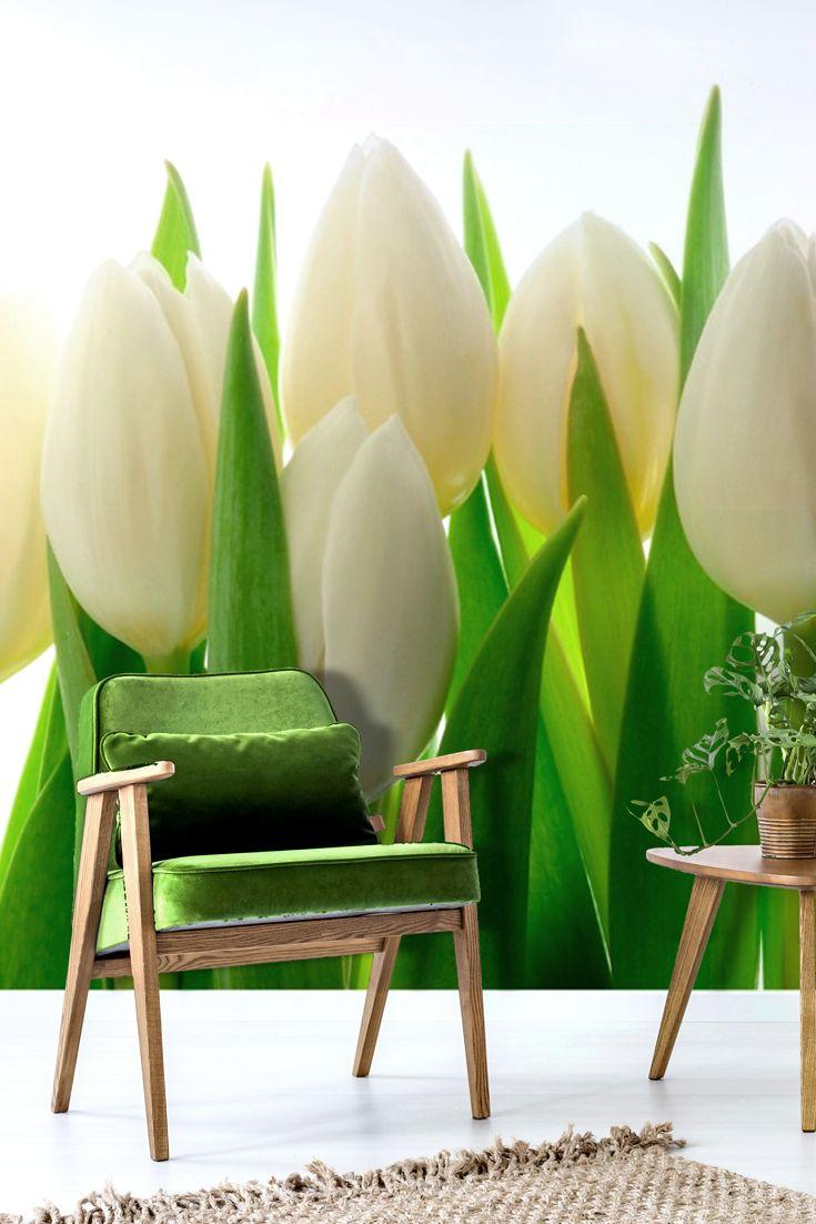 """Wandtapete, Tapete, Vliestapete, Vlies Fototapete mit Blumen """"Frische weiße Tulpen""""."""