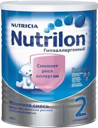 Nutrilon (Nutricia) 2 гипоаллергенный (c 6 месяцев) 400 г  — 659р.  Молочная смесь Nutrilon Гипоаллергенный 2 с 6 мес. 400 г. Nutrilon Гипоаллергенный 2 используется в питании здоровых малышей с высоким риском развития аллергии при недостатке грудного молока у мамы или отсутствии возможности грудного вскармливания. Смесь Nutrilon Гипоаллергенный 2 можно использовать постоянно в качестве единственной смеси. В современном мире каждый третий ребенок имеет риск развития аллергии. Повышенный риск…