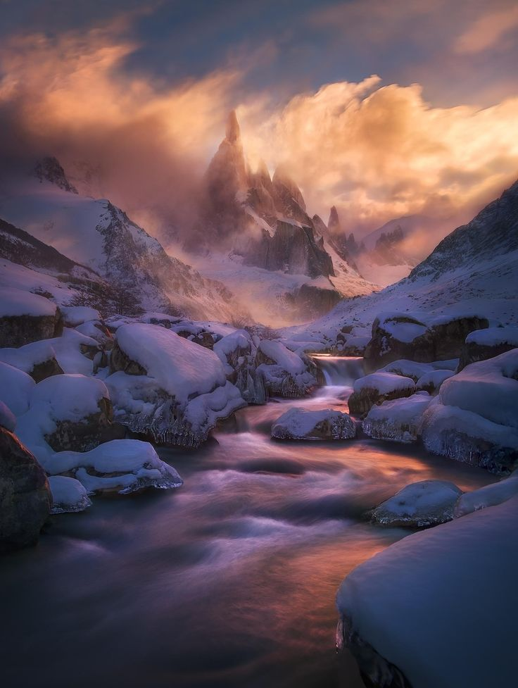 in the Patagonian winter #snow white sunset river ice clouds landscape nature