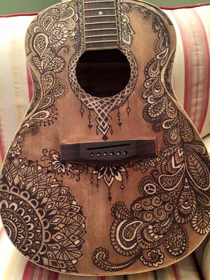 Wood Burn Guitar By Aimee Guitarart Guitar Art Guitar Painting Painted Ukulele