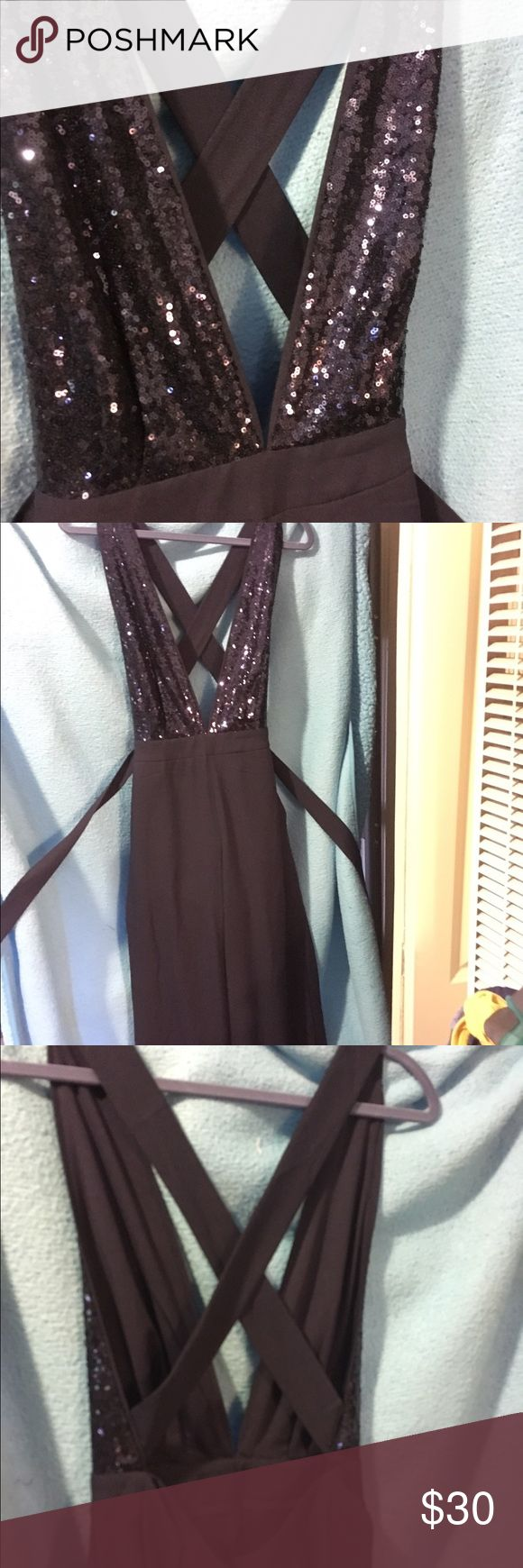 Dark blue plunge sequins jumpsuit LULU's dark blue plunge sequins jumpsuit. Size M, never worn. No tags. In perfect condition. Lulu's Pants Jumpsuits & Rompers