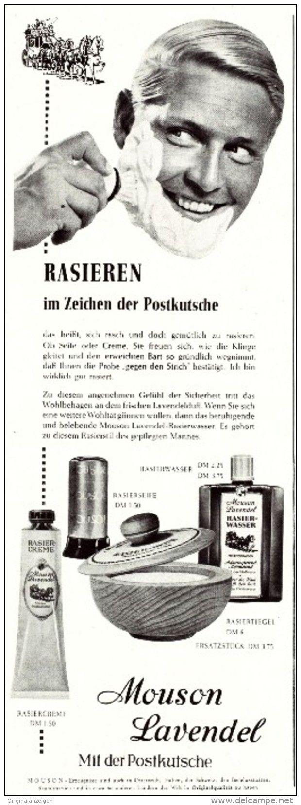 Original-Werbung/ Anzeige 1959 - MOUSON LAVENDEL RASIERCREME - ca. 110 x 320 mm