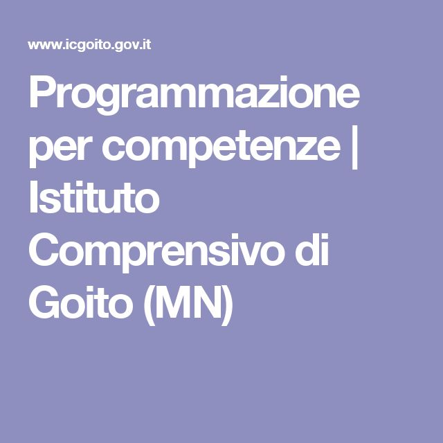 Programmazione per competenze | Istituto Comprensivo di Goito (MN)
