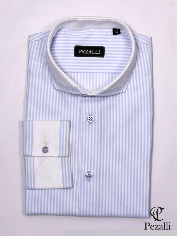 100% Egyptian cotton with white and blue stripes. Matching designer collar and cuff with blue buttons.
