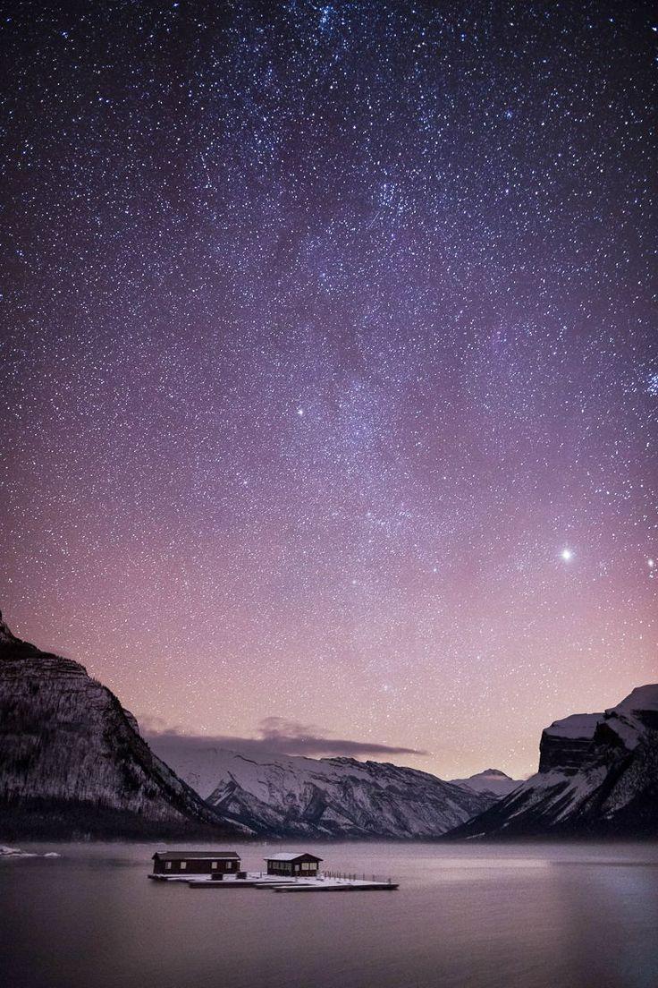 Lake Minnewanka Under a Starry Night