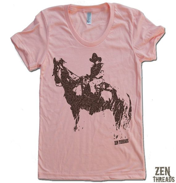 Womens COWBOY and HORSE T Shirt american apparel S M by ZenThreads, $18.00