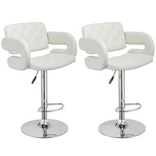 Costway Set of 2 PU Leather Swivel Bar Stools Hydraulic Pub Chair Adjustable White