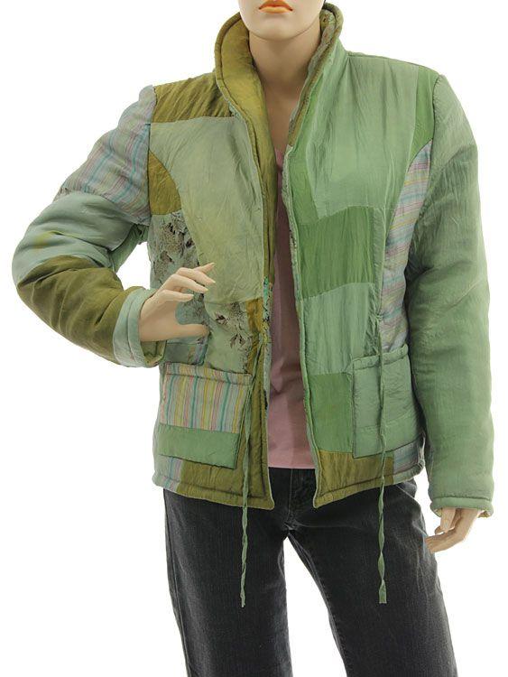 Handmade boho artsy silk coat jacket, patchwork green S M - Artikeldetailansicht - CLASSYDRESS Lagenlook Art to Wear Women's Clothing