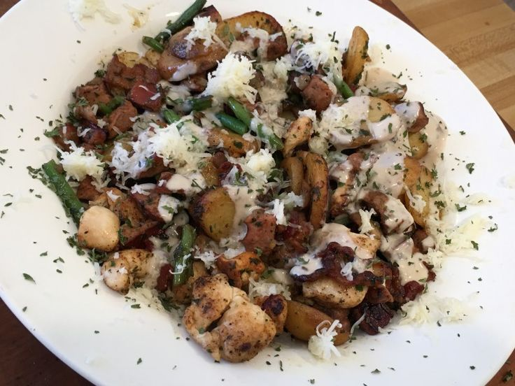 Meat Lovers Roasted Potatoes with a Portabella Mushroom Sauce