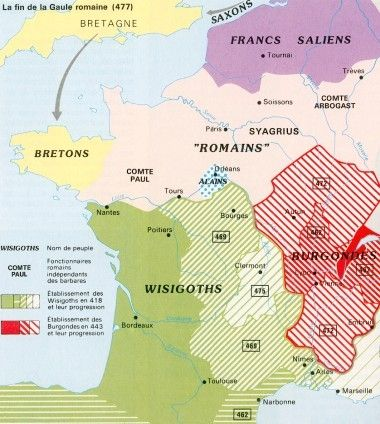Carte de la fin de la Gaule gallo-romaine